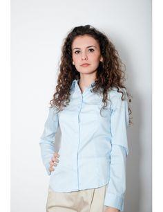 Zega Store - Camasa Depot 96, culoarea bleu - Femei, Camasi Simple Shirts, Women's Shirts, Stylish, T Shirt, Fashion Trends, Tops, Supreme T Shirt, Tee, Shell Tops