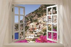 Window onto gorgeous AMALFI ITALY scenic poster 24X36 colorful blue water