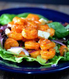Buffalo Shrimp Salad Recipe from @addapinch | Robyn Stone