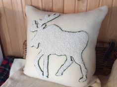 White on white moose, designed and hooked by Lynda Johnston, Totally Hooked Designs, 2015.  www.facebook.com/TotallyHookedDesigns www.instagram.com/TotallyHookedDesigns