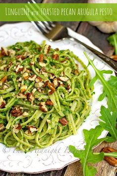 Linguine with Toasted Pecan Arugula Pesto. We like to make this with Diamond Pecans for a quick, weeknight meal!