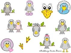 Rabe Doodle Stickdateien Set. Crow or raven? So cute! Raven doodle appliqué embroidery set for embroidery machines. Stickdesign Kerstin Bremer