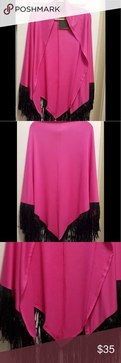 """Ruana with Fringe!💐 Pink Ruana with Faux Leather Fringe trim. 40"""" L.  72"""" Sweep. French Terry Knit. Poppy Pink. Super cute. Size is Missy. I wear a 12 and it fits well. Will fit up to a Size 14. Nene Leakes Accessories Scarves & Wraps"""