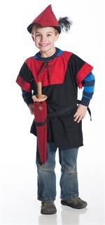 Our woodsman tunic, felt feather hat, and soft foam play swords go together to create the perfect Peter Pan and Robin Hood costumes. Available in Green/Brown or Red/Black from Fairy Finery.