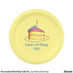 Personalized Birthday Cake Paper Plates