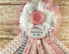 cute as a button mommy to be corsage baby shower corsage mom badge mom corsage pink