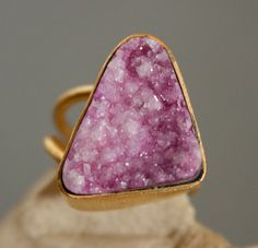 Lilac Purple Agate Druzy Ring  Triangle Shape Geometric by OhKuol, $59.00
