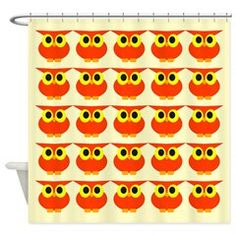 Lot of small red owls Shower Curtain