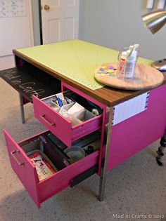 AWESOME Idea For A Work Table Using An Old Metal Desk! Can Also Use Paint