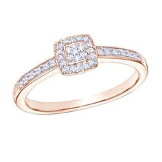 1/10 ct D/VVS1 Diamond Square Cluster Promise Ring In 14K Rose Gold Over $999 #AffinityFashionJewelry #Promise #EngagementWeddingAnniversaryMemorialDay
