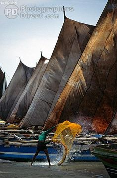 negombo harbour ( sri lanka ) in the foreground two fishermen vigorously shake a fishing net behind them full sail fishing boats are lined up along the wharf stock photo