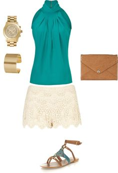 Styled: Turquoise top, blouse, shirt, lace shorts, bottom, rebecca minkoff bag, brown and turquoise shoes, gold cuffs, gold watch, fashion inspiration