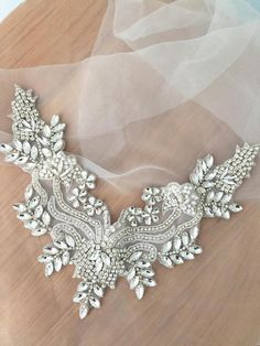 Exquisite rhinestone beaded bridal applique with silver thread iron on fabric base, bridal sash belt wedding applique, beaded lace collar - - Embroidery Neck Designs, Beaded Embroidery, Shoulder Jewelry, Tambour Beading, Motifs Perler, Wedding Sash Belt, Iron On Fabric, Rhinestone Appliques, Gold Rhinestone