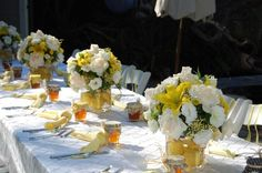 This is a table setting for a Mommy to Bee, themed shower party.  It could be adapted for a ladies tea! So pretty!
