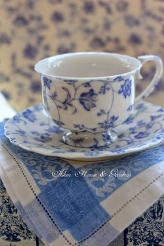 Antique blue and white teacup with saucer. - Aiken House & Gardens: Shades of Blue Blue And White China, Blue China, China China, Tea Cup Saucer, Tea Cups, Café Chocolate, White Dishes, My Cup Of Tea, Vintage Tea