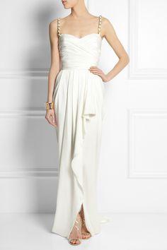 Balmain|Ruched silk-satin gown|NET-A-PORTER.COM