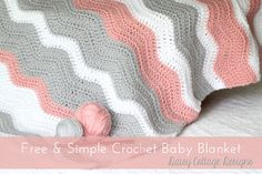 """Original pinner said, """"Simple Random Stripe Baby Blanket - colors are a nice change from brights!"""" #free #pattern #crochet"""