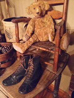 Child's chair with much loved bear.
