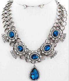 Luxury Design Silver Sapphire Blue Glass & Clear Crystal Necklace Set Jewelry #uniklookluxuryjewelry