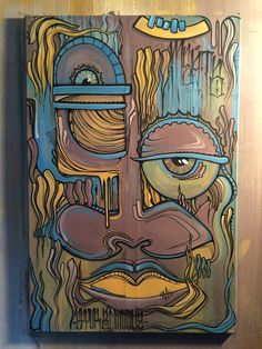 """Abstract acrylic painting by zurich artist """"meats"""""""