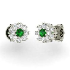 Round Emerald Earrings in 14k White Gold with SI Diamond