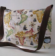 Messenger Bag / Crossbody Bag / Book Bag in Map design. $35.00, via Etsy.
