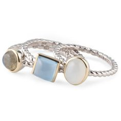 Sterling Silver And 14k Gold Multi Stone Stacking Rings