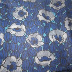 Blue Grey Poppies Synthetic 1960s | Vintage Fabric Addict