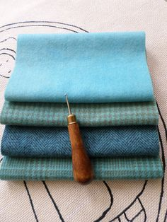 BLUE LAGOON Hand Dyed Wool Bundle Rug by SerendipityWoolWorx, $13.50