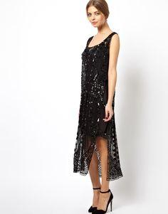 black sequined flapper dress