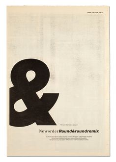 Round & Round Remix – NME press advertisement for New Order/Factory Records. Designed by Peter Saville Associates, Typography Letters, Typography Design, Branding Design, Factory Records, Peter Saville, Round Round, Joy Division, Print Layout, Vintage Travel Posters