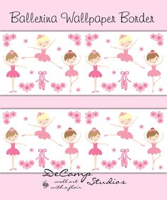 Pink Ballerina Wallpaper Border wall decals for baby girl ballet nursery or children's dance room decor #decampstudios