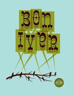 Bon Iver concert poster by The Decoder Ring Design Concern