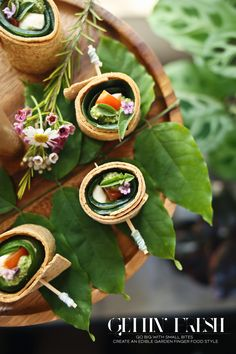 Arugula Pesto Caprese Wraps with Basil and Rosemary Blooms| Garden Party | Dine X Design