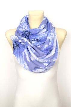 Blue Floral #Scarf #handmade and available on #etsy now
