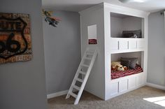 THIS bunkbed. Love it. Unfortunately, it was custom made by this blogger's dad for her sister's kids. So no plans, and so far nowhere to buy anything similar.