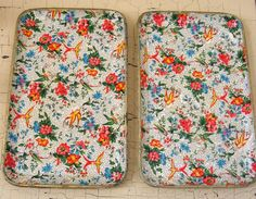 Cottage Sweet Birds and Roses Chintz Paper Mache Tray Set of Two