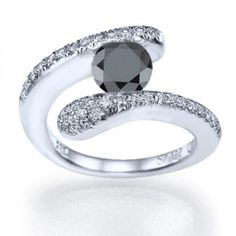 """Liquid Love"" Avant Garde Style Designer Tension Set Black Diamond Ring with White Diamond Accents - See more at: http://www.shireeodiz.com/black-diamond-engagement-gold-rings-pave-tension-liquid-love.html#sthash.zFhb79Oq.dpuf"