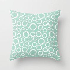 Check out Bubbles Pillow, Circles Pillow, Green Pillow, Bubbles Throw Pillow, Bubbles Pillow Cover, Circles Cushion, Mint Green, Pillow Sham, Briny on peppermintcreek