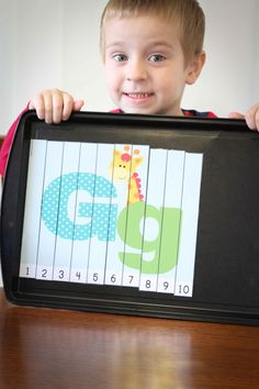FREE Letter G number puzzle. Attach adhesive magnets to the back of each strip and use on a magnetic board or cookie sheet.