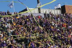 Purple and gold fly at Bridgeforth Stadium on game day