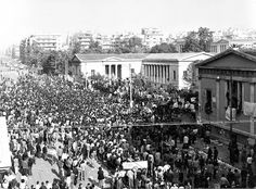 Commemorating the anniversary of the Athens Polytechnic Uprising 43 years onwards Old Time Photos, Greek History, Upload Image, November 17, Thessaloniki, History Facts, Mykonos, Athens, Greece