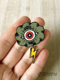 Eye Cloud Neo Traditional Tattoo Brooch/Magnet by Yukittenme, $10.00