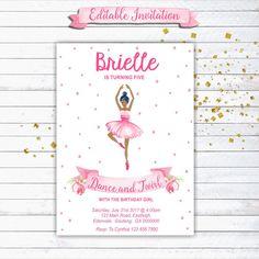 Ballerina Birthday Invitation, Ballet Party Invitation, Dance and Twirl, Ballerina, Printable Invitation, Editable, INSTANT DOWNLOAD