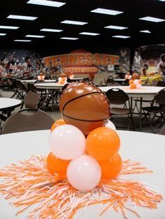 Ideas For Basket Ball Decorations Party Banquet Center Pieces Basketball Party, Basketball Decorations, Football Banquet, Banquet Decorations, Banquet Ideas, Basketball Couples, Basketball Crafts, Basketball Videos, Bulls Basketball