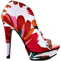 Michael Antonio Women's Taft - Red Floral ($75) ❤ liked on Polyvore featuring shoes, pumps, heels, multi-color pumps, red shoes, platform shoes, high heel pumps and floral pumps