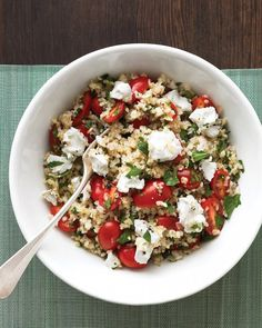 Grain salads, like this Mediterranean bulgur salad, make excellent weekday lunches.