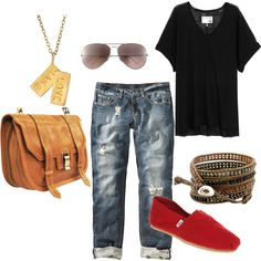 >>>TOMS shoes OFF! >>>Visit>> ok so i probably shouldnt need a pin to remember boyfriend jeans black tee red toms ethic bracelet Red Toms Outfit, Toms Outfits, Pants Outfit, Casual Outfits, Cute Outfits, Fashion Outfits, Fashion Trends, Outfits 2014, Spring Outfits
