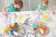 Perfect paper colorable tablecloth for kids table at Easter dinner! Love!