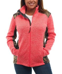 This Mossy Oak | Breakup Country & Neon Pink Heather Zip-Up Jacket by Mossy Oak is perfect! #zulilyfinds
